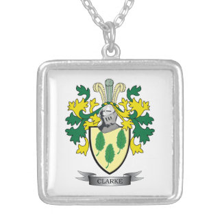 Clarke Coat of Arms Silver Plated Necklace