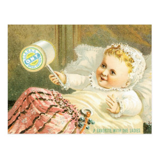 Clarks Baby with Spool Of Thread Postcard
