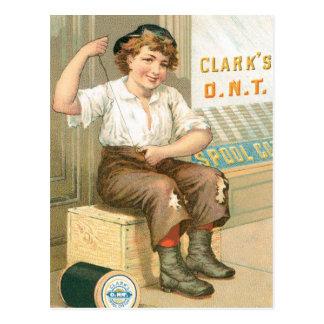 Clarks Boy Sewing Pants Postcard