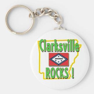 Clarksville Rocks ! (green) Basic Round Button Keychain