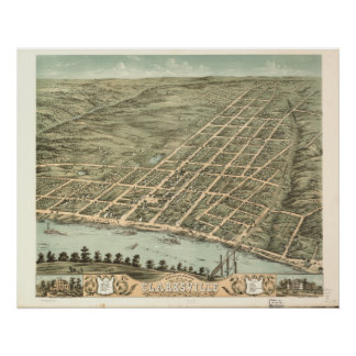 Clarksville Tennessee 1870 Antique Panoramic Map Poster