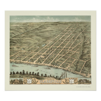 Clarksville, TN Panoramic Map - 1870 Poster