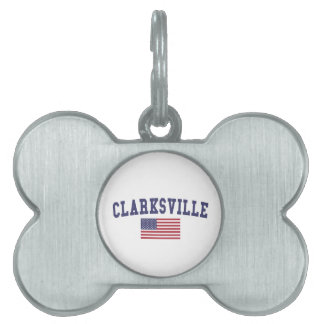 Clarksville US Flag Pet Name Tags