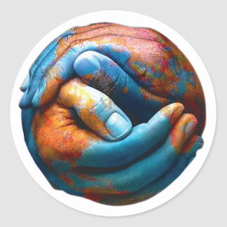 Clasped Hands Forming Planet Earth World Peace Classic Round Sticker