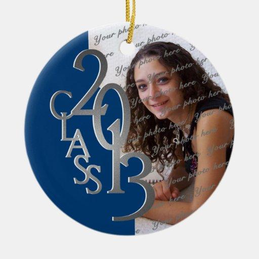 Class 2013 Graduation Photo Blue and Silver Christmas Tree Ornament
