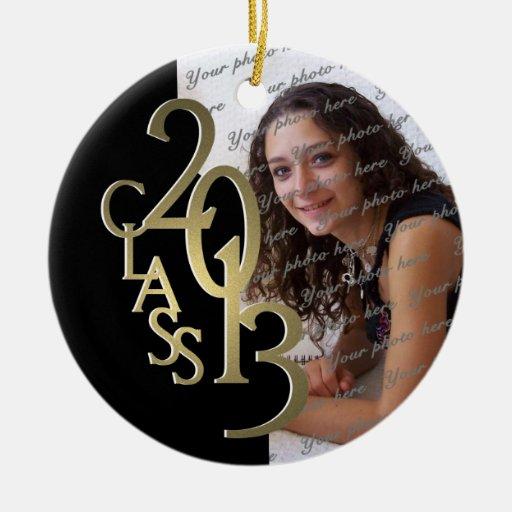Class 2013 Graduation Photo Gold and Black Christmas Tree Ornaments