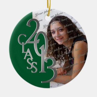 Class 2013 Graduation Photo Green and Silver Round Ceramic Ornament