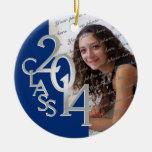 Class 2014 Graduation Photo Blue Silver Round Ceramic Ornament