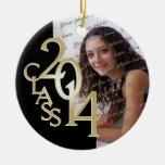 Class 2014 Graduation Photo Gold Round Ceramic Ornament