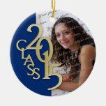 Class 2015 Graduation Photo Blue and Gold Round Ceramic Ornament
