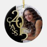 Class 2015 Graduation Photo Gold Round Ceramic Ornament
