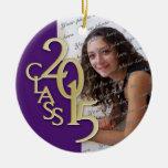 Class 2015 Graduation Photo Purple Round Ceramic Ornament