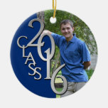 Class 2016 Blue and Silver Graduate Photo Round Ceramic Ornament