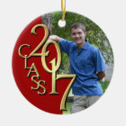 Class 2017 Red and Gold Graduate Photo Ceramic Ornament