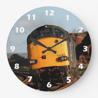 Class 37 diesel engine, number 37038, with numbers large clock