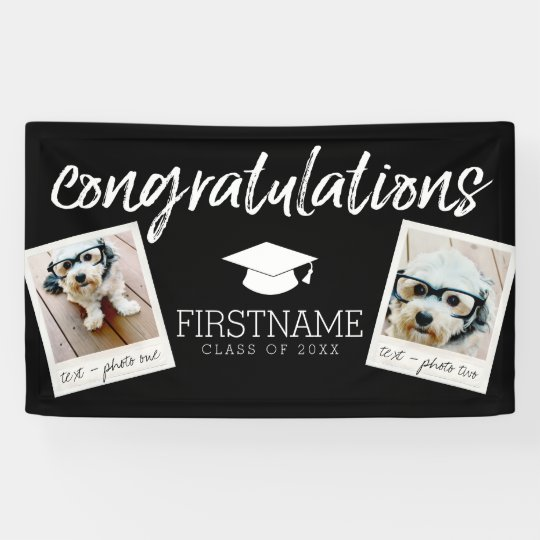 Class Any Year Graduation 2 Square Photo Collage Banner