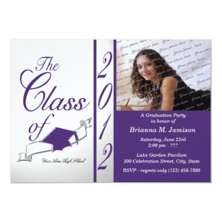 "Class Graduation 2012 Purple 5"" X 7"" Invitation Card"