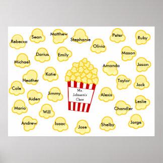 Class Names Popcorn Teacher Poster - Fits 30 Names