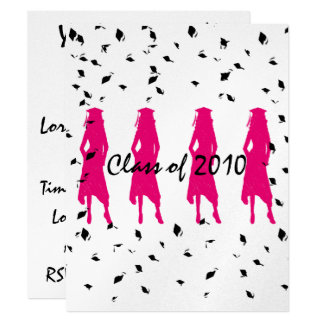 "Class of 2010 Pink Grad Silhouettes with Tassle 4.25"" X 5.5"" Invitation Card"