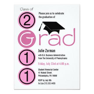 Class Of 2011 Graduation Invitation Cap185 Pink