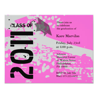 Class of 2011 Invitation ABP231 Pink Abstract
