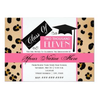 Class of 2011 Leopard Print & Pink Graduation Card