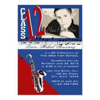 "Class of 2012 Graduation Music/ Sax 5"" X 7"" Invitation Card"