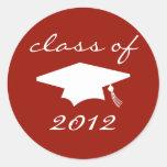 Class Of 2012 Label (Maroon Graduation Cap) Round Sticker