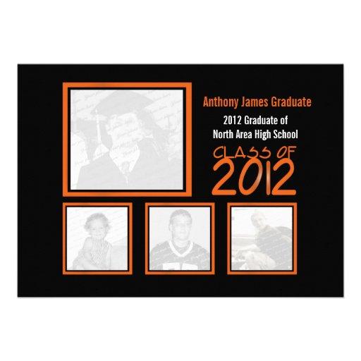 Class of 2012 Neon Orange Graduate Quad Photo Personalized Announcements