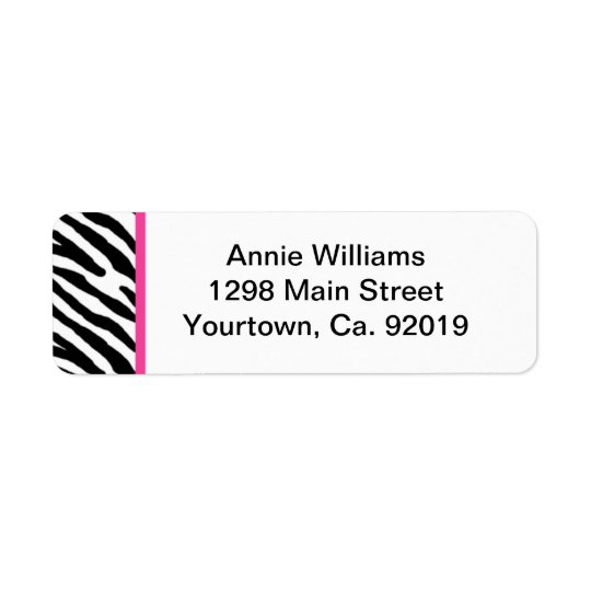 Class of 2012 Pink and Black Zebra Stripe Return Address Label