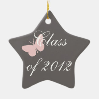 Class of 2012 - Pink and Grey Ceramic Star Ornament