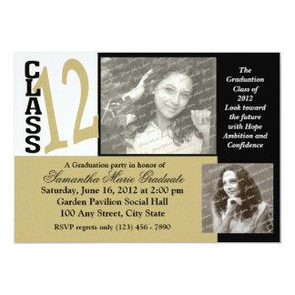 "Class of 2012 Soft Gold Graduation Photo 5"" X 7"" Invitation Card"