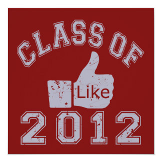 """Class of 2012 Thumbs Up - Grey 5.25"""" Square Invitation Card"""
