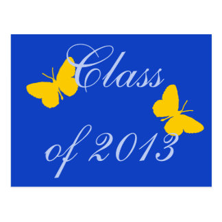Class of 2013 - Blue and Gold Butterfly Postcard