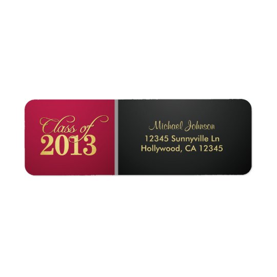 Class of 2013 Burgundy and Black Return Address Label