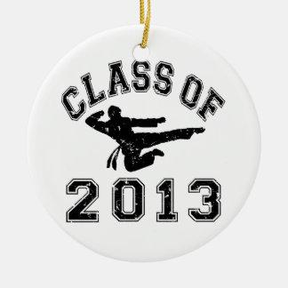 Class Of 2013 Martial Art - Black 2 D Round Ceramic Ornament