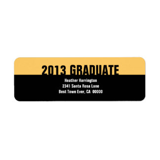Class of 2013 or Any Year Graduation Gold Black Return Address Label