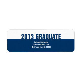 Class of 2013 or Any Year Graduation Navy White V1 Return Address Label