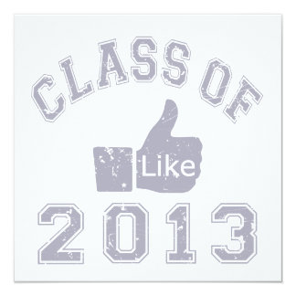 "Class Of 2013 Thumbs Up 5.25"" Square Invitation Card"