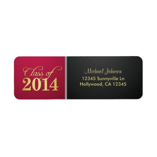 Class of 2014 Burgundy and Black Return Address Label