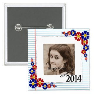 Class of 2014 Graduation Photo Frame Daisies 2 Inch Square Button