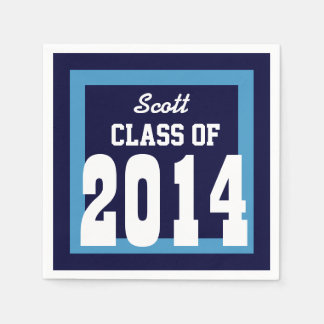 Class of 2014 or Any Year Graduation V01 BLUE Paper Napkin