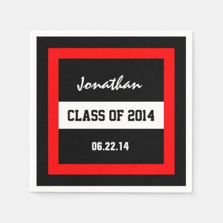 Class of 2014 or Any Year Red Frame V02 Disposable Napkins