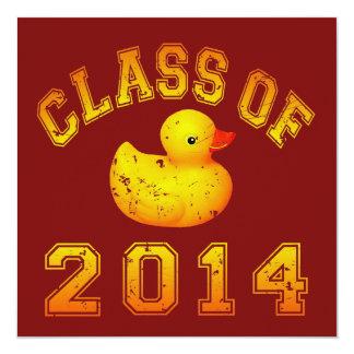 """Class Of 2014 Rubber Duckie - Orange 5.25"""" Square Invitation Card"""