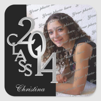 Class of 2014 Silver and Black Graduation Square Sticker