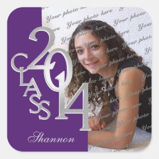 Class of 2014 Silver and Purple Graduation Square Sticker