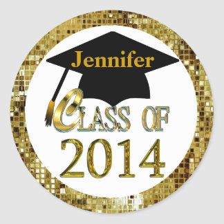 Class Of 2014 Sparkling Gold Graduation Stickers