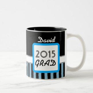 Class of 2015 ANY YEAR Custom Name Blue Stripes A4 Two-Tone Coffee Mug