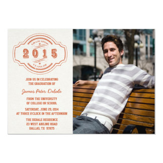 Class of 2015 burnt orange photo graduation party 5x7 paper invitation card