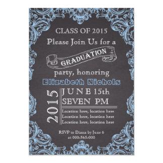 Class of 2015 chalkboard blue graduation card